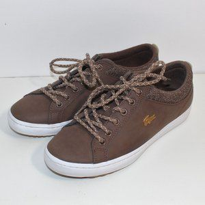 LACOSTE Brown Genuine Leather Sneaker Gold Detail